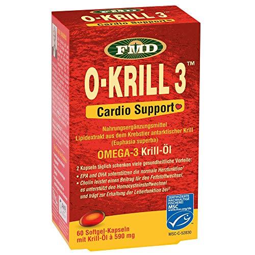 Krillöl O-Krill 3 Cardio Support | 60 Kapseln | 590 mg Krillöl pro Kapsel | Mit wertvollen Omega-3 Fettsäuren EPA und DHA & Cholin | Leicht verdaulich & verwertbar | Kein unangenehmes Aufstoßen | MSC-zertifiziert