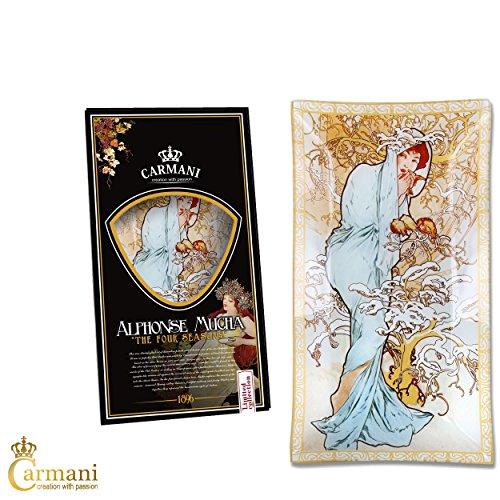 CARMANI - A. Mucha Quatre saisons HIVER - Rectangle décoratif en verre laqué 16x30cm