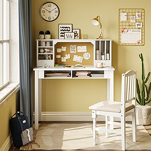 ADORNEVE Home Office Study Desk,Kids Desk and Chair Set with Cork Bulletin Board & Upholstered Chair, Writing Desk with Hutch & Bookshelf, Computer...