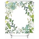 LANTRO JS - Cortina de ducha de baño, poliéster, decoración de baño para el hogar, hojas verdes y flores, cortina de ducha de baño de calidad hotelera impresa, con 12 ganchos