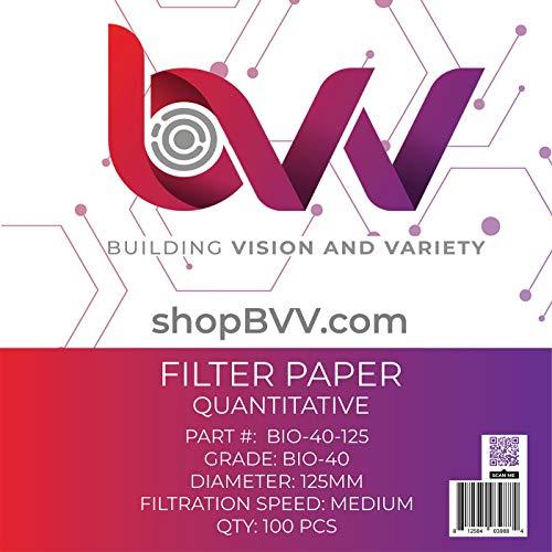 BVV Ashless Filter Papers - 125 Millimeter - Quantitative - Grade 40 - Medium - 8um