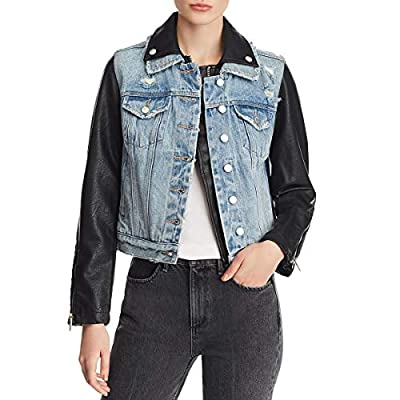 [BLANKNYC] Blank NYC Women's Faux Leather and Denim Distressed Jacket Blue Size M from Blank NYC