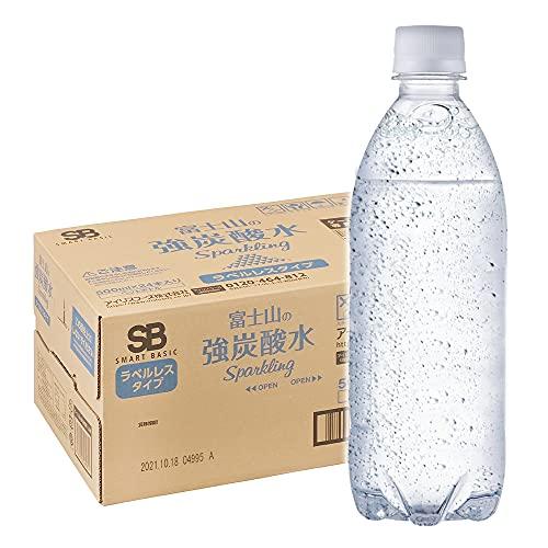 Smart Basic(スマートベーシック) [Amazon限定ブランド] 炭酸水 ラベルレス 500ml ×24本 富士山の強炭酸水