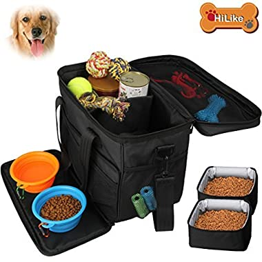 Hilike Pet Travel Bag for Dog&Cat -Weekend Tote Organizer Bag for Dogs Travel -Incudes1 * Dog Tote Bag,2 * Dog Food Carriers Bag,2 * Pet Silicone Collapsible Bowls.(Black)