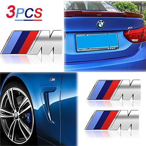 KENPENRI M Badge Tir Color Rear Emblems Fender Side Emblems for BMW - 3D Decal Nameplate Car Decal Logo Sticker Fit for All BMW - Silver(3 PCS)