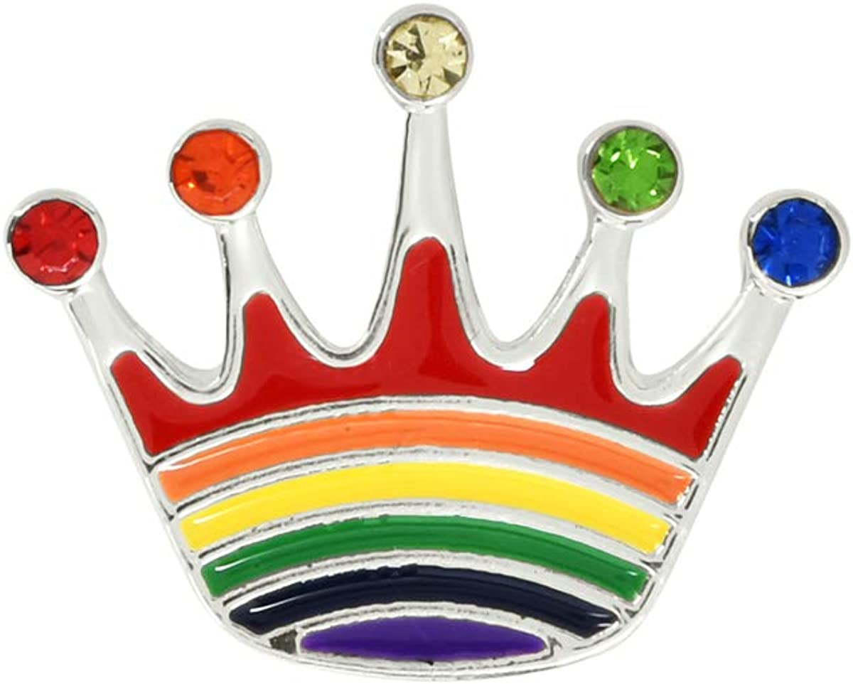 Queen King Rainbow Stripe Crown - Selling Je High order with Shaped Pins