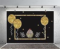 Leyiyi 写真撮影用背景 6x4フィート Happy Birthday背景バナー グリッターバルーン フローティングコンフィティ 黒板 アイスクリーム デザートテーブル スター ベビーシャワー ブライダルフォト ポートレート ビニール スタジオ ビデオ小道具