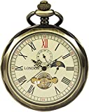 Reloj de bolsillo Reloj de bolsillo mecánico de cara abierta clásica Caja con bordes de bronce Esfera especial con mesa giratoria de luna y sol Pantalla de 24 horas Pantalla de 12 horas para homb