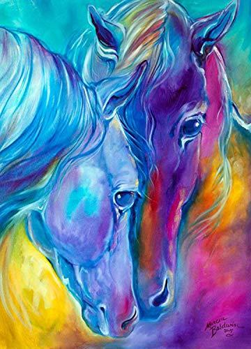 DIY 5D Diamant-Gemälde von Nummer Kits,5D Diamant Painting Pferd, zwei farbigen Pferde Full Strass Stickerei Kreuzstich Bilder Arts Craft für Home Wand-Dekor, 30x 40cm , 5D Malerei