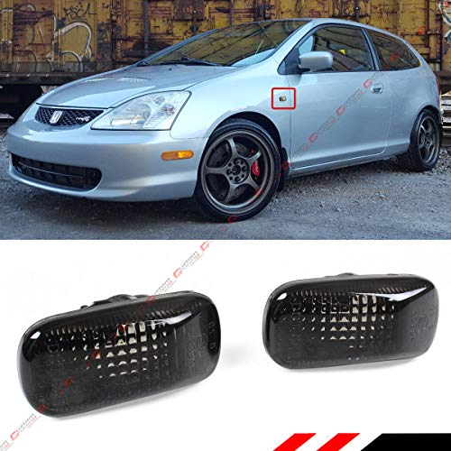 Fits for Honda Fit/Civic ES EP3 SI FD/Acura RSX DC5 Type-R JDM Smoke Tinted Lens Fender Side Marker Lamp Light - Pair