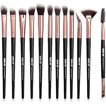 MAANGE-Brocha de Maquillaje Profesionales 12 Piezas Set de Pinceles de Paquillaje Brochas para Ojos Blending Eyeliner Eyelash Eyebrow Brush (Oro negro)