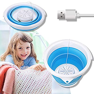 Portable Mini Washing Machine,CAMTOA Folding Turbo Washer Lightweight Travel Ultrasonic Turbine USB Powered Laundry Tub for Camping Dorms Apartments College Business Trip Clothes