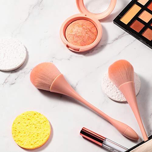 2 Pieces Large Mineral Powder Brush Nail Brushes Kabuki Makeup Brushes Soft Fluffy Foundation Brush Blush Brush for Large Coverage Loose Powder Bronzer Blush Blending Buffing (Pink)
