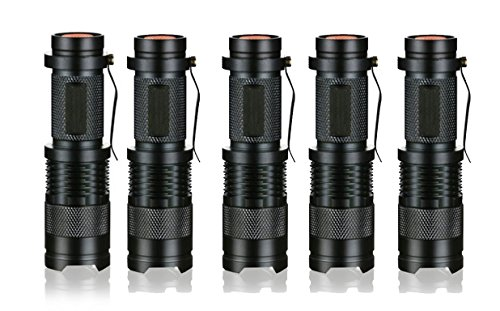 JDYYICZ 5 Pack 3 Modes Handheld Mini Cree Q5 LED Flashlight Torch Tactical Lamp 7w 500lm Adjustable Focus Zoomable Light