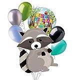 7 pc Woodland Raccoon Happy Birthday Animals Balloon Bouquet Party Decoration