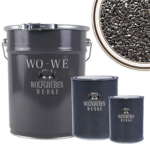 WO-WE Steinteppich SET 25kg Marmorkies + 1,5kg Epoxidharz Bindemittel + Mischeimer | Schwarz 4-8mm