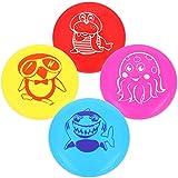 com-four 4X Frisbee pour Enfants et Adultes - Disque pour Chiens - Disque de Frisbee 22 cm - Disque Volant de Couleurs Vives [Variété de Choix] (4 pièces - avec Motif)
