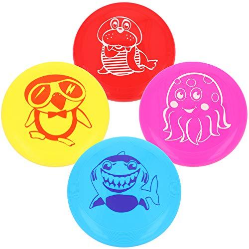 com-four® 4X Frisbee für Kinder und Erwachsene - Wurfscheibe auch für Hunde - Frisbeescheibe zum Spielen - Flugscheibe in bunten Farben [Auswahl variiert]