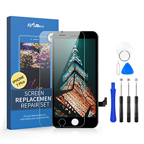 Flylinktech for iPhone 7 Plus Screen Replacement, LCD Display Digitizer Touch Screen for iPhone 7 Plus Screen Assembly with Full Repair Tools (Black)