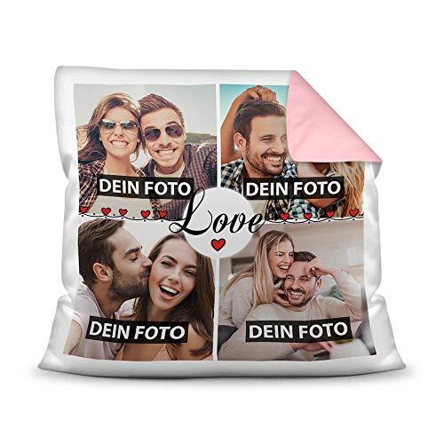 Print Royal Kissen mit Füllung - Fotocollage selbst gestalten mit Spruch - Love - mit Vier eigenen Fotos - Geschenkidee Fotokissen - Farbkissen Rückseite Rosa