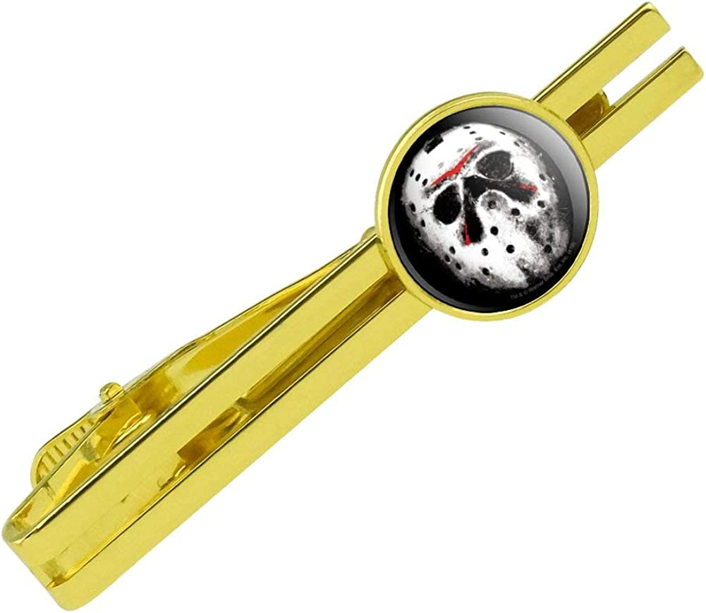GRAPHICS & MORE Friday The 13th Jason Mask Round Tie Bar Clip Clasp Tack Gold Color Plated