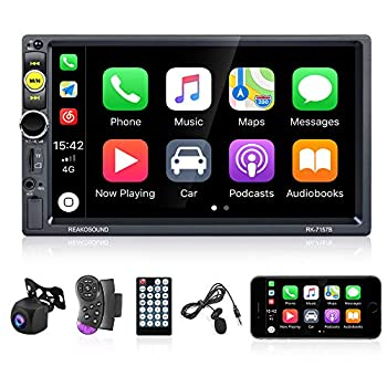 Universal Double Din Car Stereo 7 Inch Touch Screen D-Play Car Radio with Bluetooth FM Radio Receiver Car Multimedia Player Support TF/USB/AUX Remote SWC + Rear View Camera & External Microphone