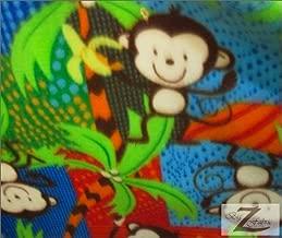 MONKEY POLAR FLEECE FABRIC- MONKEY JUNGLE - ONLY $4.99/YARD SOLD BTY