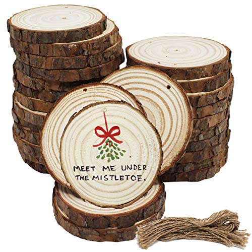 32 Pack Natural Wood Slices, 3-4 Inches Craft Round Unfinished Wood Kit with Pre-drilled Hole Include Strings for Arts and Crafts DIY Christmas Ornaments