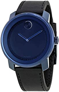 Bold Blue Dial Leather Mens Watch 3600408