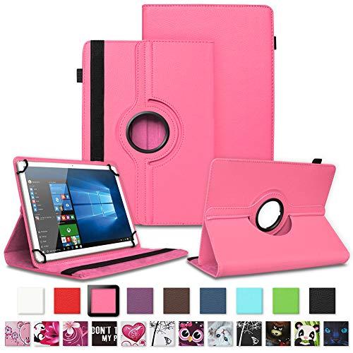 NAUC TrekStor Surftab Breeze 10.1 Quad 3G Tablet Hülle Tasche Schutzcase Cover 360° Drehbar Hülle, Farben:Pink