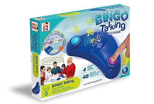 Chicos- Bingo Electrnico Lotera Parlante con 48 cartones, 13 x 7.5 x 4 cm, incluye fichas de juego, Multicolor (Fbrica de Juguetes 22409)