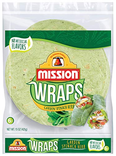 Mission Garden Spinach Herb Wraps, Soft Veggie Wraps, Trans Fat Free, 6 Count