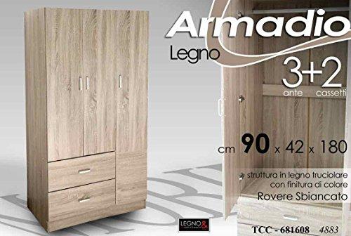 Giardicasa Armadio Moderno in Legno Rovere 3 Ante+2 CASSETTI 90 * 42 * 180 CM