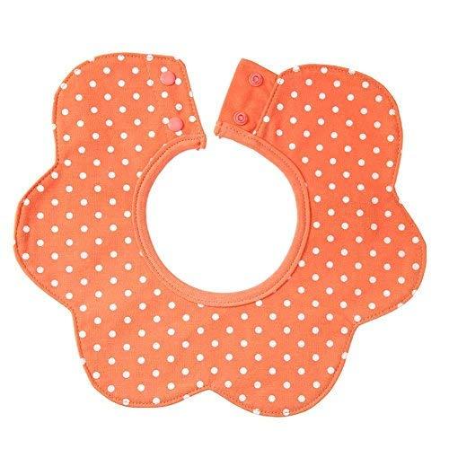 BIGBIGWORLD Baby Baby-baby Dot Bib 4-laags Ronde 360 graden Rotatie Voeding Handdoek Bibs met Mouwen ORANJE
