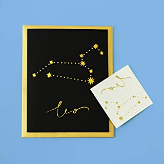 Flash Tattoos Zodiac Leo Greeting Card for any occasion, metallic gold foil card with free constellation metallic gold temporary tattoo