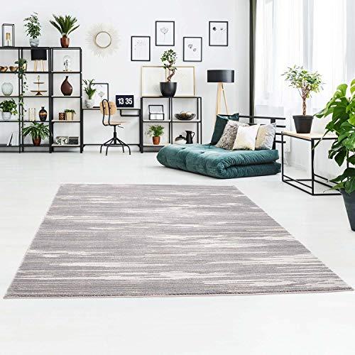 Teppich Modern Flachflor mit Streifen, Meliert, Hoch-Tief-Effekt in Grau für Wohnzimmer Größe 80/300 cm