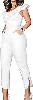 Women's Elegant Split Jumpsuit Ruffle Off Shoulder Pants Long Rompers with Belt and Pocket