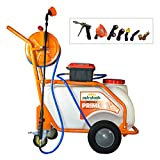 PetraTools Battery Powered 13 Gallon Pushcart Sprayer (Prime), Heavy Duty Commercial Sprayer with Custom Built Cart, Off-Road Wheels & Solid Steel Easy-Turn Hose Reel for 130 Foot Hose, 80PSI