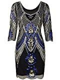 Vijiv 1920s Flapper Dress With 3/4 Sleeve V Neck Squins Cocktail Gatsby Dresses, Black Blue, Small