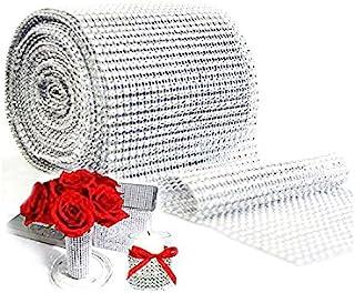 Silver Diamond Sparkling Rhinestone Mesh Ribbon for Event Decorations, Wedding Cake, Birthdays, Baby Shower, Arts & Crafts...