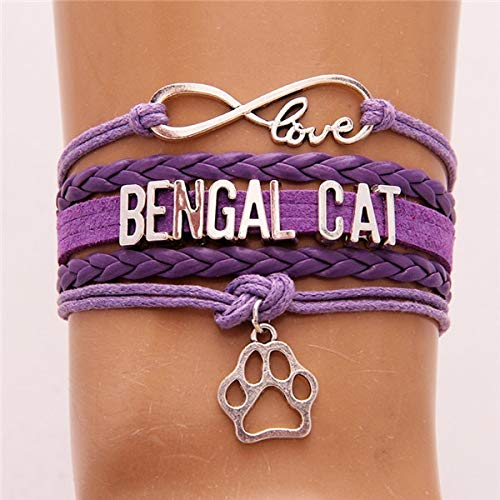 Joulee Infinity Love Bengal Cat Bracelet & Bangles Pet Cat Paw Charm Leather wrap Rope Jewelry for Women Men 4colors - (Metal Color: Purple)