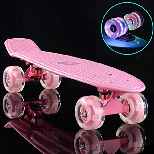 YSCYLY Skateboard Vintage,Retro Plastic Cruiser Penny Board mit 72mm blinkenden Rädern,Coole Designs FüR Kinder Und Jugendliche