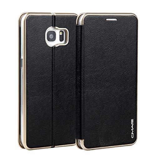 Funda para Galaxy S7 Edge, de piel sintética de color sólido, con soporte para tarjetas, funda protectora compatible con Samsung Galaxy S7 Edge. (Color: Negro)