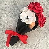 Set de 6 flores - Ramo floral de papel crepé con rosas rojas, anémonas y ranúnculos