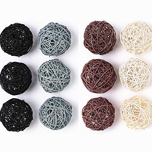 Byher 24-Pack Wicker Rattan Balls - Decorative Balls for Bowls, Vase Filler, Coffee Table Decor, Wedding Party Decoration (Large-9CM-12pcs-)