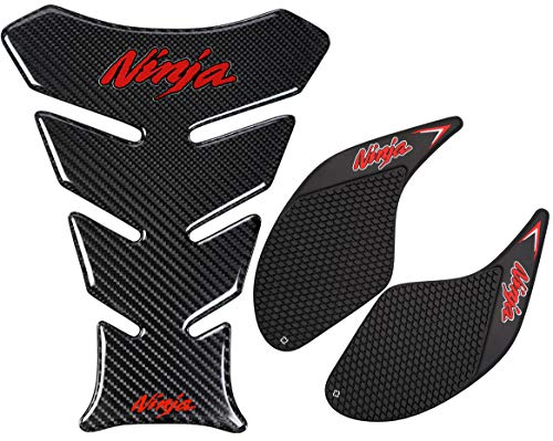 REVSOSTAR Real Carbon Fiber Motorcycle Decal Vinyl Tank Protector, Motorcycle Tank Side Traction Pad, Anti Slip sticker,Gas Tank Pad for Ninja 250 300 2008-2018, 3Pcs Per Set, Red Color