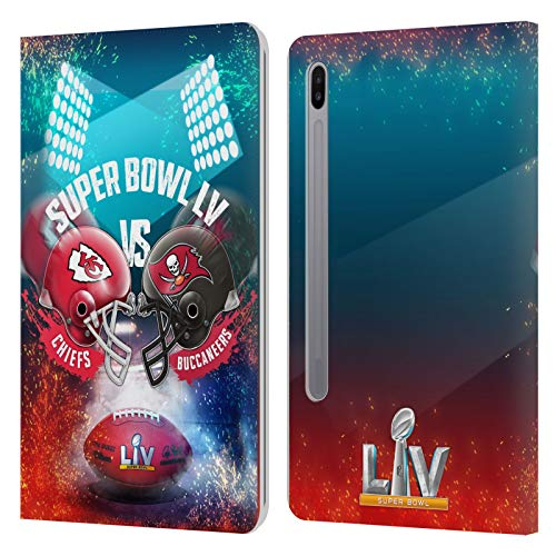 Official NFL Kansas City Chiefs vs Tampa Bay Buccaneers 2021 Super Bowl LV Versus Leather Book Wallet Case Cover Compatible For Samsung Galaxy Tab S6 (2019)