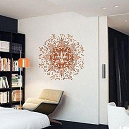 Igemy Mandala Blume indische Schlafzimmer Wand Aufkleber Kunst Aufkleber Wandbild Home Vinyl Familie (Kaffee)