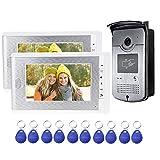 uoweky Sistema de Control de Acceso de la Cámara RFID del Teléfono de la Puerta de Intercomunicación de Video en Casa + 10pcs ID Blue Keyfob (1 cámara 2 monitor)