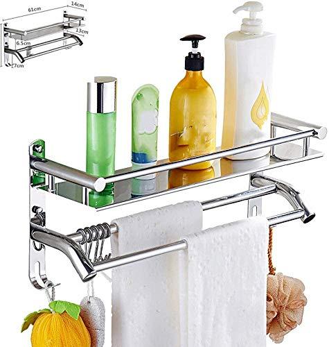 Multifunción accesorios de baño montado en la pared baño toallero toalla toallero estante simple y con estilo,Silver